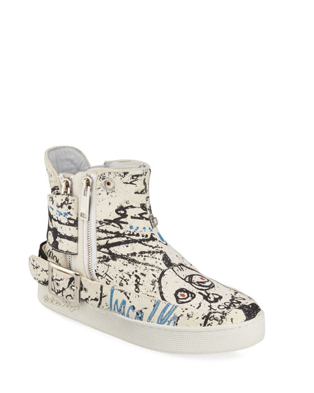 Haculla Men's Insanity Art High-Top Leather Sneakers