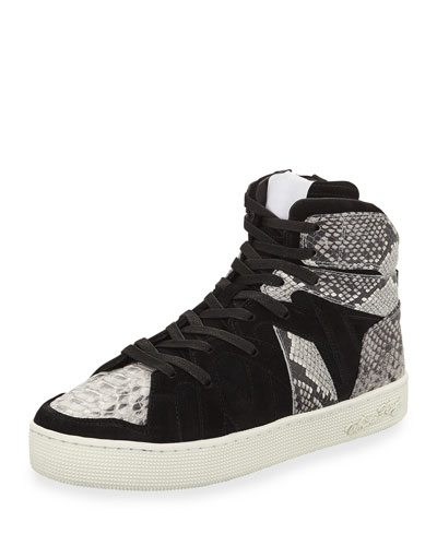 Men's Henri High-Top Sneakers with Python-Print Trim
