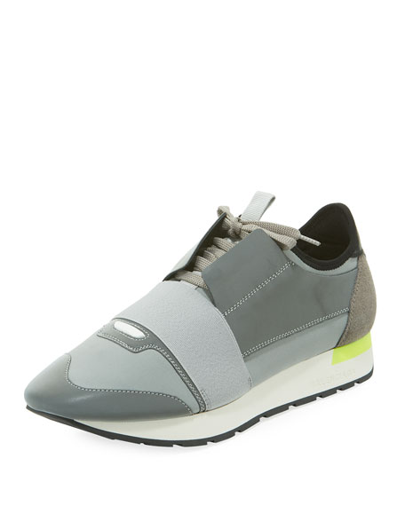 Balenciaga Men's Reflective Race Runner Mesh & Leather