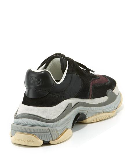 Men's Triple S Mesh & Leather Sneakers, Dark Red