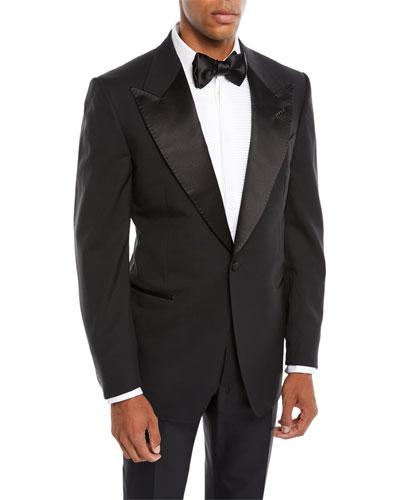 Men's Satin Peak-Lapel Two-Piece Tuxedo Suit