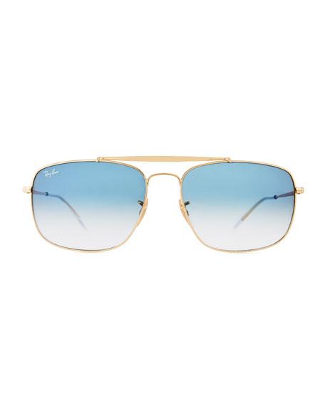 Men's Square Gradient Metal Aviator Sunglasses