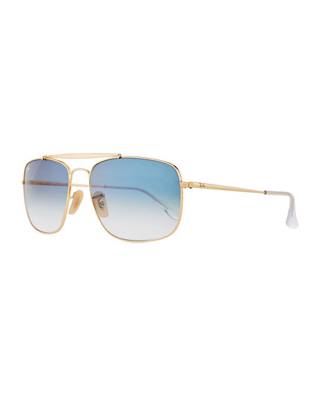Ray-Ban Men's Square Gradient Metal Aviator Sunglasses