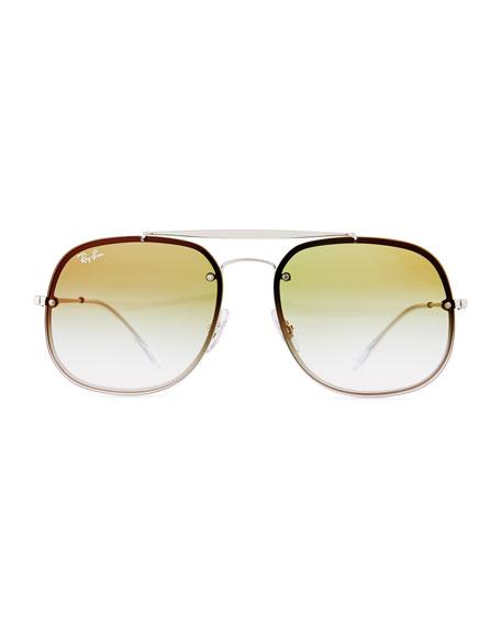 Square Mirrored Gradient Metal Aviator Sunglasses