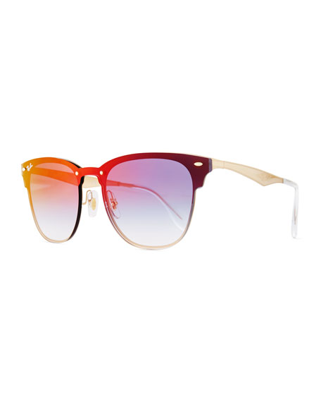 Ray-Ban Clubmaster Mirrored Half-Rim Sunglasses