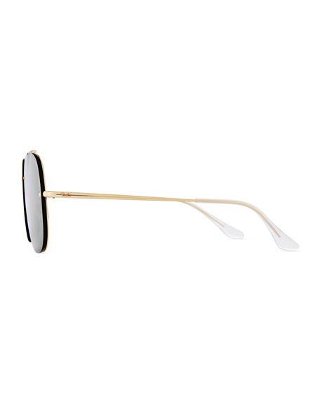 Square Solid Metal Aviator Sunglasses