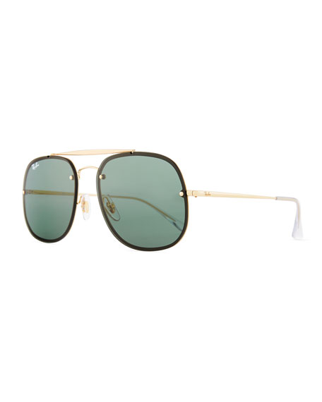 Ray-Ban Square Solid Metal Aviator Sunglasses