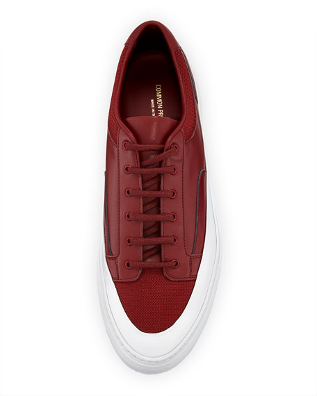 Common Projects Men's Achilles Super Platform Leather Low-Top Sneakers, Red
