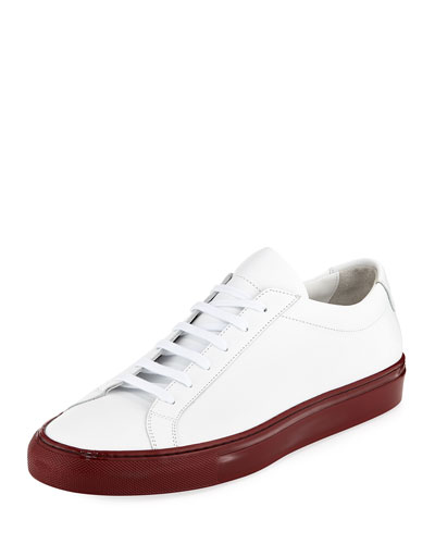 Men's Achilles Leather Low-Top Sneakers with Shiny Sole, White/Red