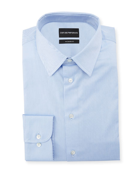 Emporio Armani Men's Modern-Fit Cotton-Stretch Dress Shirt, Blue