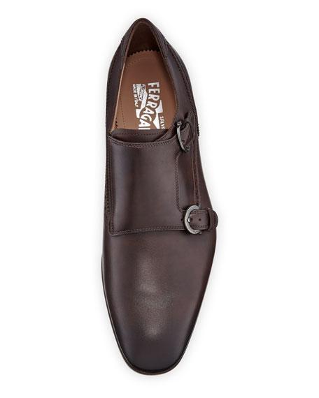 Men's Blair Gancini-Buckle Leather Double-Monk Shoe