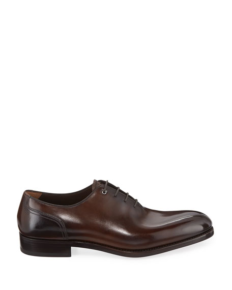Men's Barclay Burnished Tramezza Leather Lace-Up Oxford, Brown