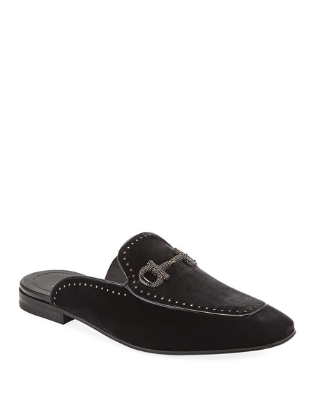 Men's Bloom Studded Velvet Gancini Bit Mule, Gray