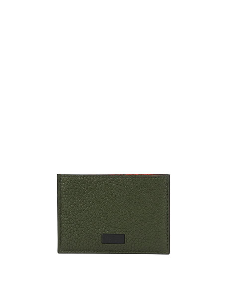 Salvatore Ferragamo Men's Firenze Flat Colorblock Leather Card