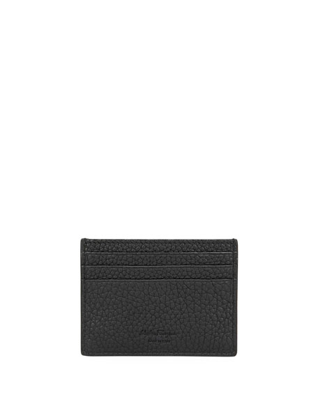 SALVATORE FERRAGAMO Men'S Firenze Gamma Leather Flat Card Case, Black