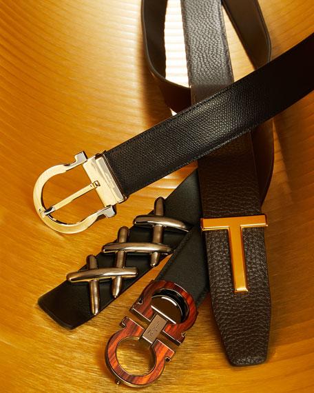 Salvatore Ferragamo Men's Suede Wood-Inlay Gancini-Buckle Belt