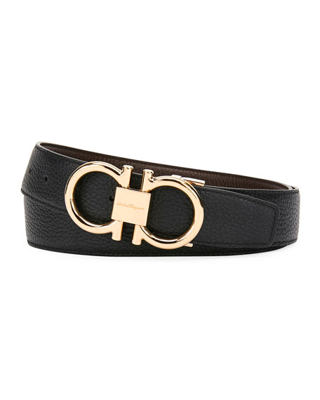 Men's Reversible Leather Belt with Rose-Tone Gancini Buckle