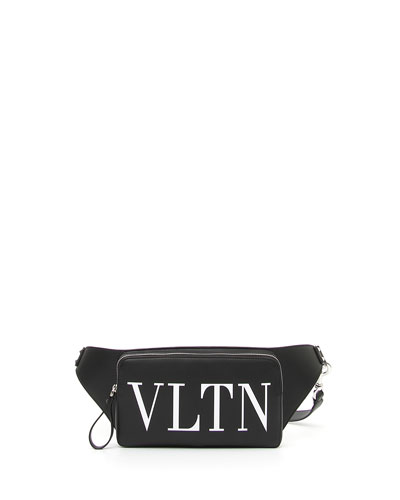 Men's VLTN Logo Leather Crossbody Bag