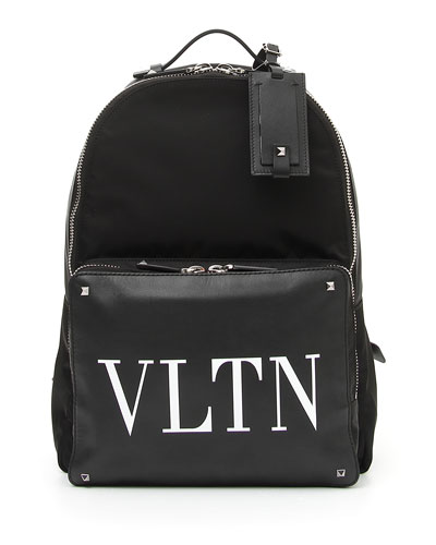Men's VLTN Logo Leather Backpack