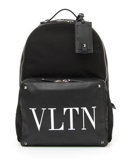 Vltn Logo-Print Leather-Panelled Backpack, Black/White