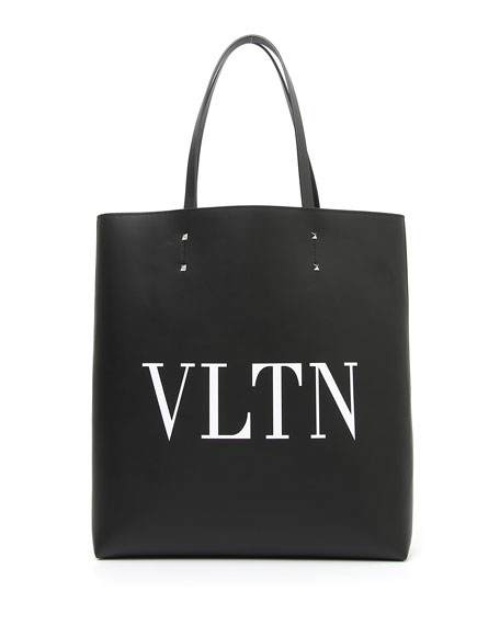 Men's VLTN Logo Leather Tote Bag