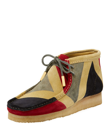 Men's Geometric Suede Wallabee/Moc Chukka Boot, Red/Gray/Black