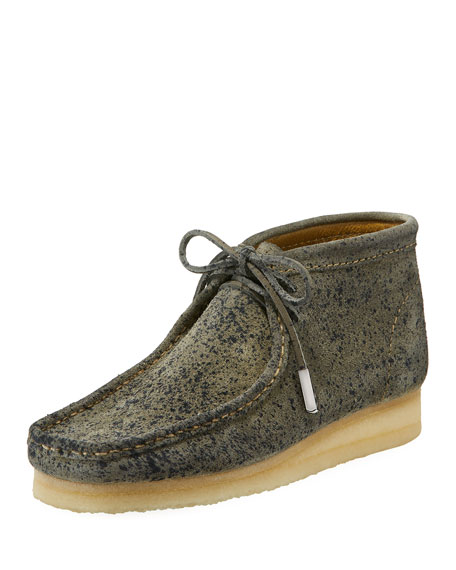 Men's Suede Wallabee/Moc Chukka Boot, Gray with Black Speckle Print