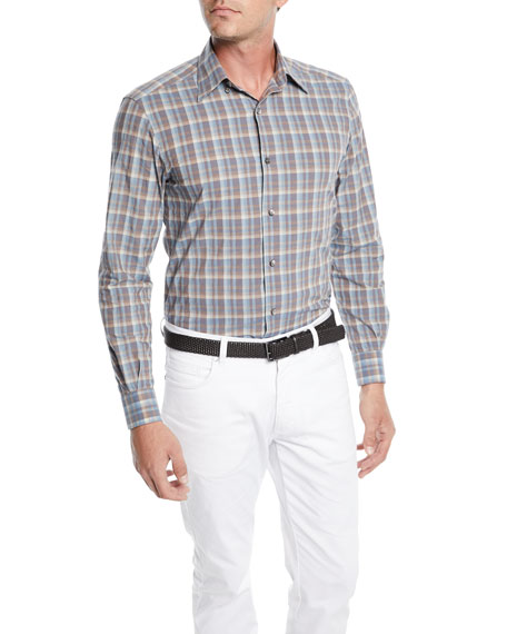 Image 1 of 2: Men's Woven Large-Plaid Cotton Sport Shirt
