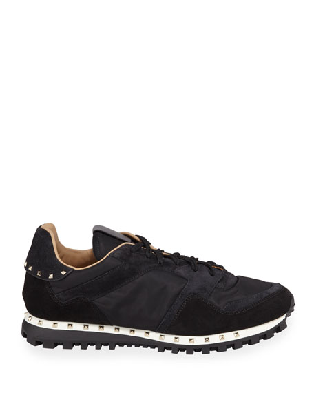 Men's Suede-Trim Rockstud Sneakers