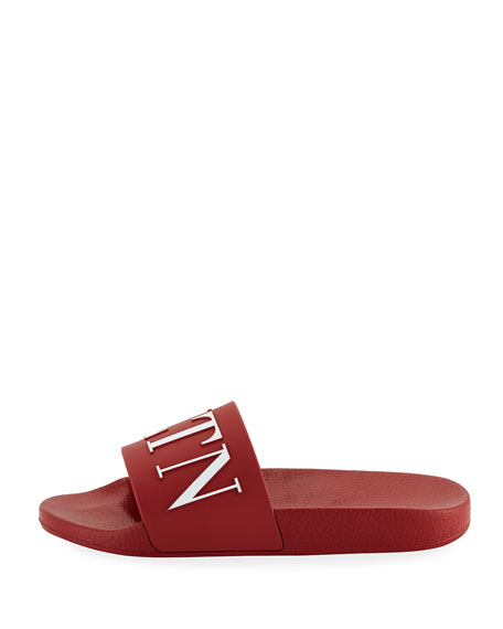 Men's VLTN Logo-Embossed Pool Slide Sandal