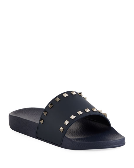 Valentino Garavani Men's Rockstud Vinyl Pool Slide Sandals