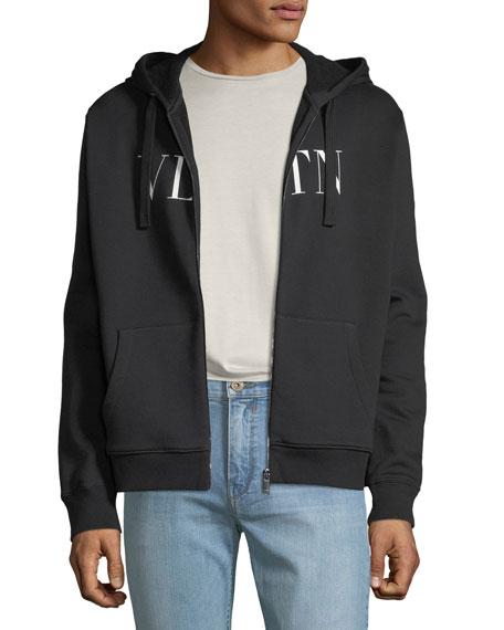 Valentino Men's Logo-Front Zip-Front Hoodie