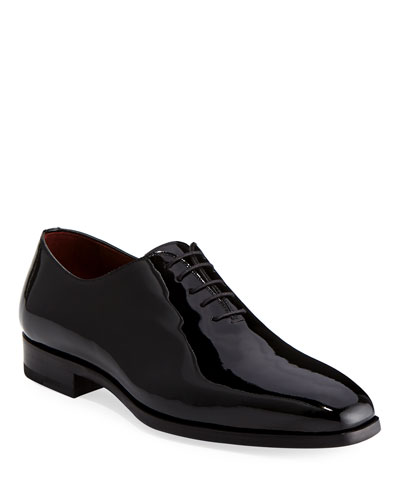 Men's One-Piece Patent Leather Oxford Shoe  Black