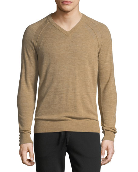 Vince Men s Seamed Wool Linen V-Neck Sweater  c37075518