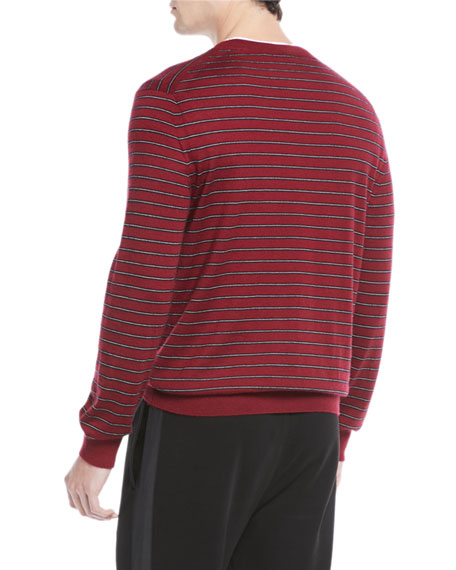 Vince Men's Striped Wool/Cashmere Crewneck Sweater