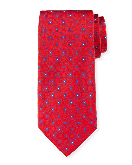 Retro Pattern Silk Tie, Red