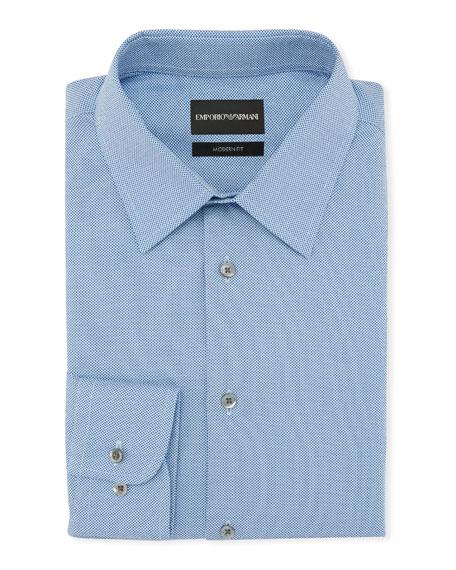 Men's Modern Fit Textured Neat Cotton Dress Shirt