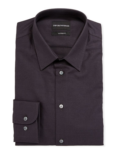Men's Modern-Fit Textured Cotton Dress Shirt