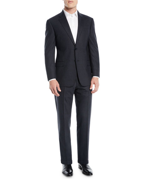 Image 2 of 4: Men's Melange Two-Piece Wool-Stretch Suit
