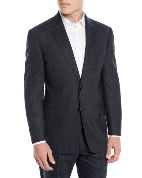 Image 1 of 4: Men's Melange Two-Piece Wool-Stretch Suit