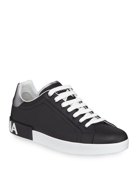 Men's Portofino Logo Leather Low-Top Sneakers