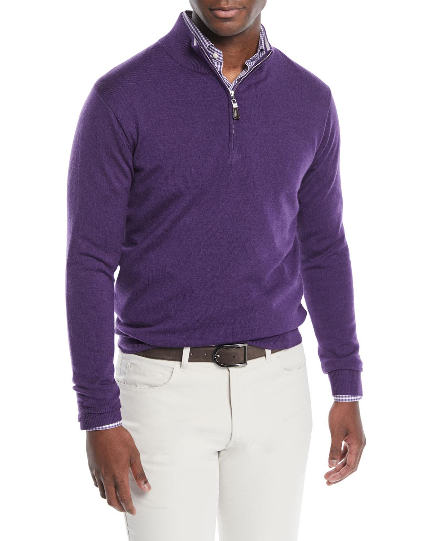 0e296977f Peter Millar Men s Crown Soft Half-Zip Wool Silk Sweater