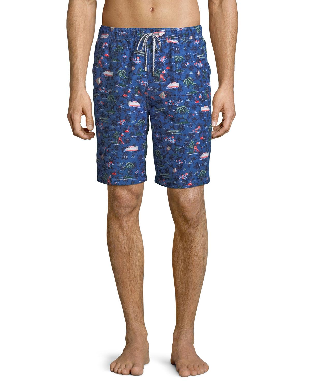 1b60852b39 Peter Millar Men's Hawaiian Express Swim Trunks | Neiman Marcus