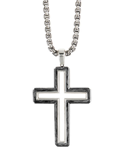 Men's 37mm Cross Pendant in Forged Carbon