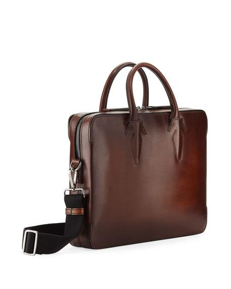 Berluti Men's Profil Scritto Leather Briefcase
