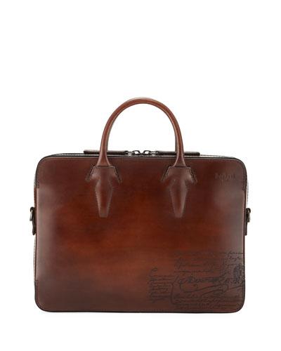 Men's Profil Scritto Leather Briefcase