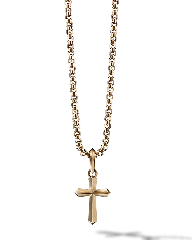 26d43db77572df David Yurman 19mm Men's 18K Gold Roman Cross Pendant Enhancer ...