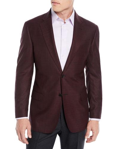 Men's Textured Wool Two-Button Blazer
