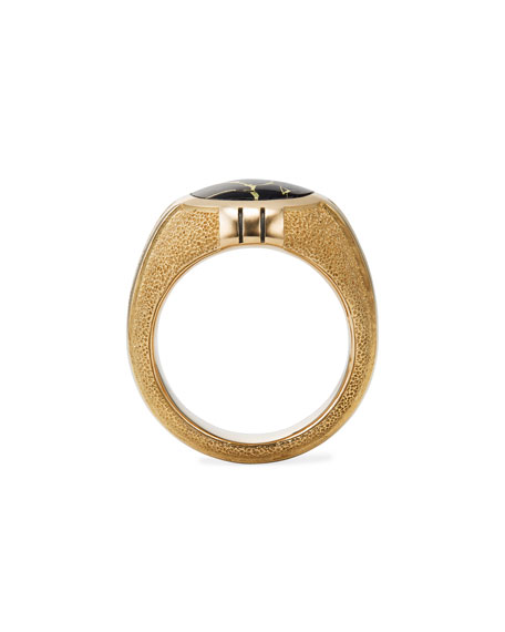 David Yurman Men's Southwest 18k-Gold Signet Ring w/ Black Quartz Inlay
