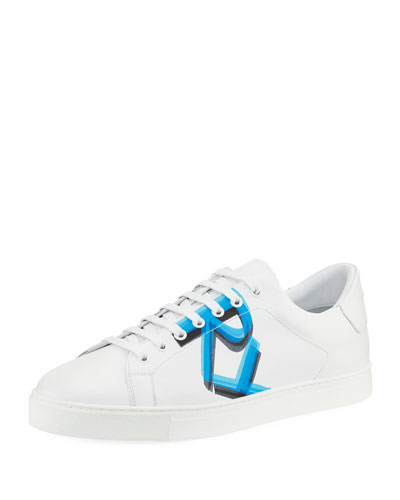 Men's Albert Logo-Print Leather Sneakers